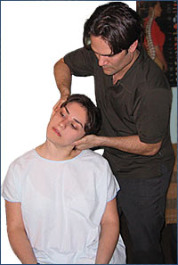 Los Angeles, West Hollywood, Beverly Hills Chiropractor Dr. Nick Campos treating patient injured in auto accident